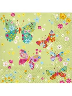 Салфетка для декупажа Бабочки на салатовом, 33х33 см, Польша