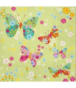 """Салфетка для декупажа """"Бабочки на салатовом"""", 33х33 см, Польша"""