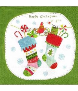 """Салфетка для декупажа """"Рождественские носки с подарками"""", 33х33 см, Paw (Польша)"""