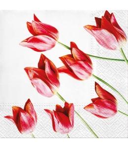 "Салфетка для декупажа ""Красные тюльпаны"", 33х33 см, Польша"
