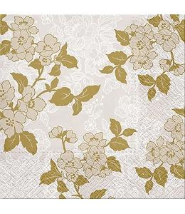 """Салфетка для декупажа """"Цветы в японском стиле, золото"""", 33х33 см, Польша"""