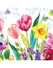 """Салфетка для декупажа """"Весенние цветы, акварель"""", 33х33 см, Польша"""