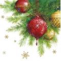"""Салфетка для декупажа """"Красные и золотые шары"""", 33х33 см, Paw (Польша)"""