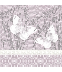 "Салфетка для декупажа ""Бабочки на розовом"", 33х33 см, Польша"