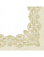 "Салфетка для декупажа ""Кружевная рамочка, золото"", 33х33 см, Польша"