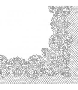 "Салфетка для декупажа ""Кружевная рамочка, серебро"", 33х33 см, Польша"