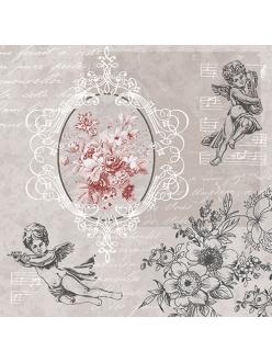 Салфетка для декупажа Ангелы среди цветов, 33х33 см, Польша
