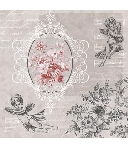 """Салфетка для декупажа """"Ангелы среди цветов"""", 33х33 см, Польша"""