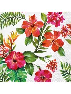 Салфетка для декупажа Гавайские цветы, 33х33 см, Польша