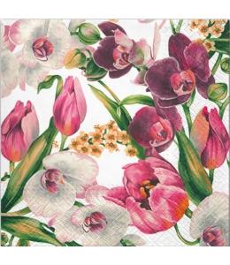 """Салфетка для декупажа """"Тюльпаны и орхидеи"""", 33х33 см, Польша"""