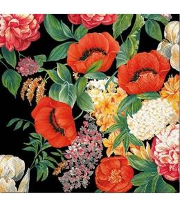 """Салфетка для декупажа """"Цветы на черном"""", 33х33 см, Польша"""