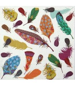 """Салфетка для декупажа """"Разноцветные перья"""", 33х33 см, Польша"""