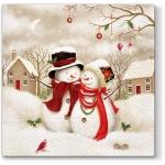 """Салфетка для декупажа """"Два снеговика"""", 33х33 см, Paw (Польша)"""