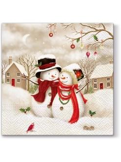 Новогодняя салфетка для декупажа Два снеговика, 33х33 см, Paw (Польша)