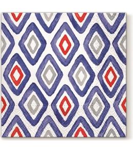 """Салфетка для декупажа """"Акварельные ромбы синие"""", 33х33 см, Paw"""
