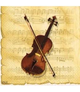 """Салфетка для декупажа """"Скрипка"""", 33х33 см, Польша"""