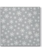 "Салфетка для декупажа ""Снежинки на серебряном фоне"", 33х33 см, Paw (Польша)"