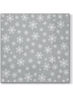 Новогодняя салфетка для декупажа Снежинки на серебряном фоне, 33х33 см, Paw (Польша)
