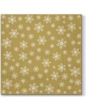 "Салфетка для декупажа ""Снежинки на золотом фоне"", 33х33 см, Paw (Польша)"