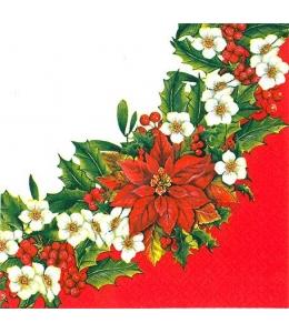 """Салфетка для декупажа """"Рождественский венок с пуансетией"""", 33х33 см, Paw (Польша)"""
