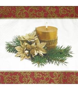 "Салфетка для декупажа ""Новогодняя свеча"", 33х33 см"