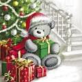 """Салфетка для декупажа """"Мишка с подарками под елкой"""", 33х33 см, Paw (Польша)"""