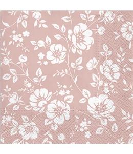 "Салфетка для декупажа ""Цветы на розовом"", 33х33 см, Польша"