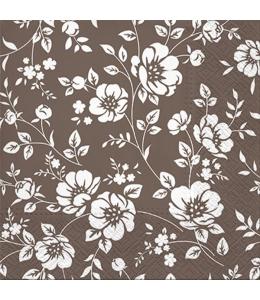 """Салфетка для декупажа """"Цветы на коричневом"""", 33х33 см, Польша"""