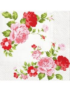 """Салфетка для декупажа """"Композиция из красных роз"""", 33х33 см, Польша"""