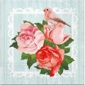 """Салфетка для декупажа """"Розы и птица"""", 33х33 см, Польша"""