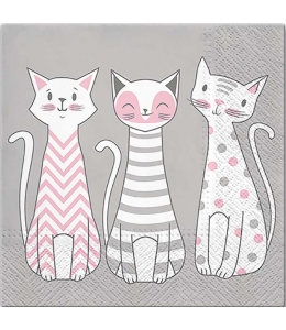 "Салфетка для декупажа ""Три кошки"", 33х33 см, Польша"