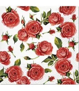 """Салфетка для декупажа """"Красные розы и бутоны"""", 33х33 см, Paw"""