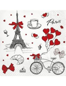 """Салфетка для декупажа """"Я люблю Париж"""", 33х33 см, Paw"""