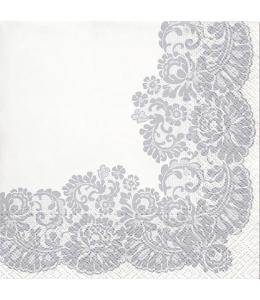 "Салфетка для декупажа ""Кружевная рамка Серебро"", 33х33 см, Paw"