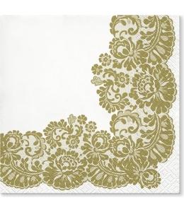 "Салфетка для декупажа ""Кружевная рамка Золото"", 33х33 см, Paw"