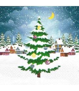 """Салфетка для декупажа """"Рождественская ель и домики"""", 33х33 см, Paw (Польша)"""