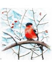 """Салфетка для декупажа """"Снегирь на ветке рябины"""", 33х33 см, Paw (Польша)"""