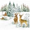 "Салфетка для декупажа ""Олени и зимний пейзаж"", 33х33 см, Paw (Польша)"