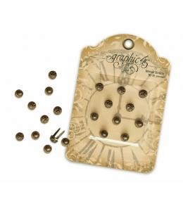 Брадсы металлические винтажные, цвет античная бронза10 шт