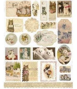 Стикеры для скрапбукинга, набор Here Kitty, Kitty, винтаж, Melissa Frances