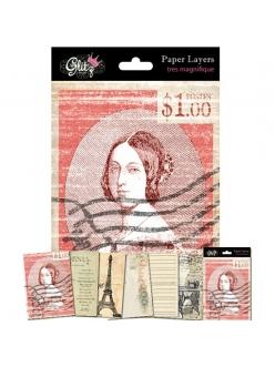 Бумага для скрапбукинга, карточки винтажные Glitz French Kiss,  6 шт 12х17 см , Glitz Design