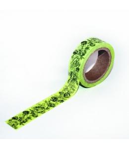 """Бумажный скотч с принтом SCB 139008 """"Зеленые розочки"""", 15 мм, длина 8м, ScrapBerry's"""