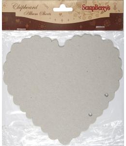 """Листы из чипборда для альбома """"Сердце"""", 15х15 см, 2 шт, ScrapBerry's"""