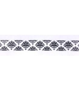 """Бумажный скотч с принтом SCB 138048 """"Викторианский черно-белый орнамент"""", 15 мм, длина 8м, ScrapBerry's"""