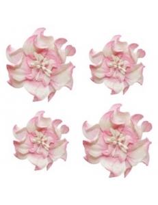 Цветы бумажные для скрапбукинга Фиалки кудрявые бело-розовые, 4 шт., ScrapBerry's