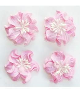 Цветы бумажные для скрапбукинга Фиалки кудрявые розовые, 4 шт., ScrapBerry's