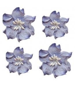 Цветы бумажные для скрапбукинга Фиалки кудрявые сине-белые, 4 шт., ScrapBerry's