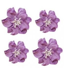 Цветы бумажные для скрапбукинга Фиалки кудрявые фиолетовые, 4 шт., ScrapBerry's