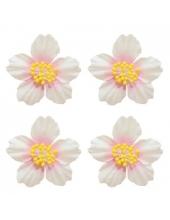 Цветы бумажные для скрапбукинга Плюмерия белая с розовым, 4 шт., ScrapBerry's