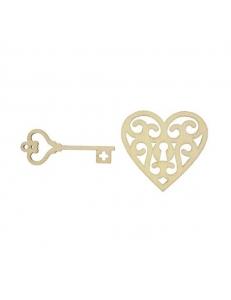 Плоские деревянные фигурки Сердце и ключ., ScrapBerry's